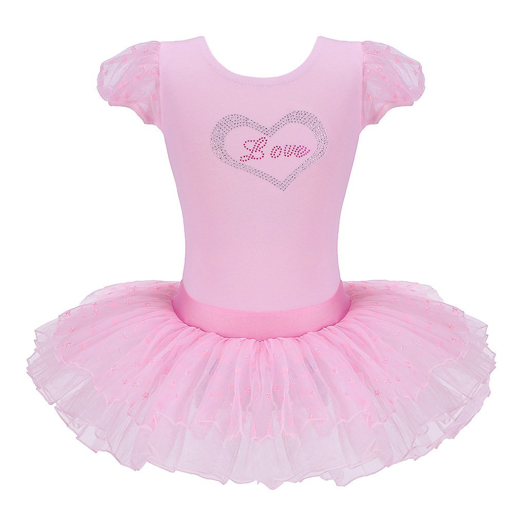 BAOHULU Girls Short Sleeve Tutu Ballet Dress 3-8 Years