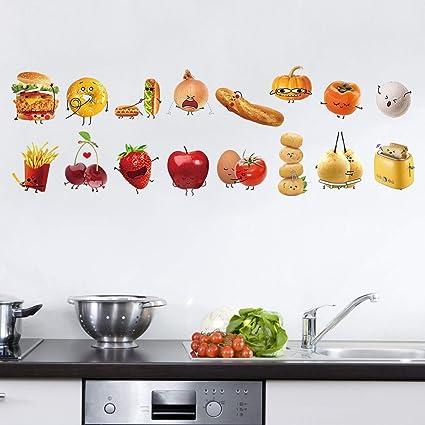 Decalmile Cucina Adesivi Murali Cibo Adesivi Da Parete Removibile Vinile Decorazione Murale Per Camerette Bambini Cucina Sala Da Pranzo Amazon It Fai Da Te