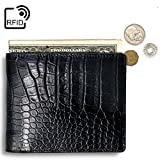 Lethnic Mens Bifold Wallet features Horizontal Credit Card Style, Made from Crocodile Embossed Cowhide Genuine Leather with RFID Blocking, Super Thin and Slim for Pockets, Black Horizontal