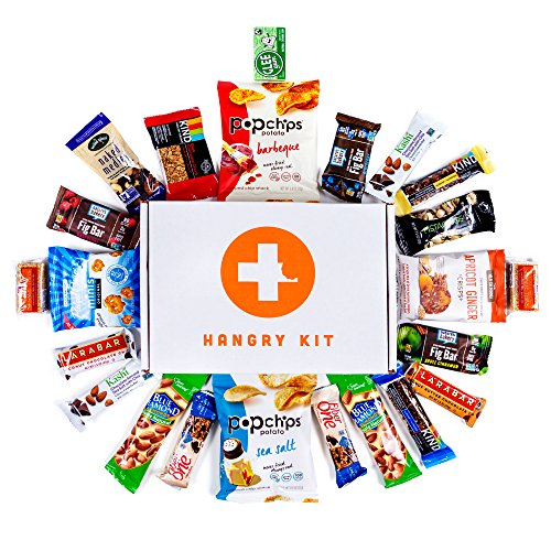 HANGRY KIT - Healthy Kit - Snack Sampler - Care Package - Gift Pack - Variety of 25 Healthy Bars, Gum, and other Oven-Baked Chips and Crisps Included - 100% (Sending Gift Baskets For Kids By Mail)