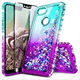 Google Pixel 3a XL Case with Tempered Glass Screen Protector (Full Coverage) for Girls Women, NageBee Glitter Liquid Sparkle Floating Waterfall Durable Cute Case for Google Pixel 3a XL -Aqua/Purple