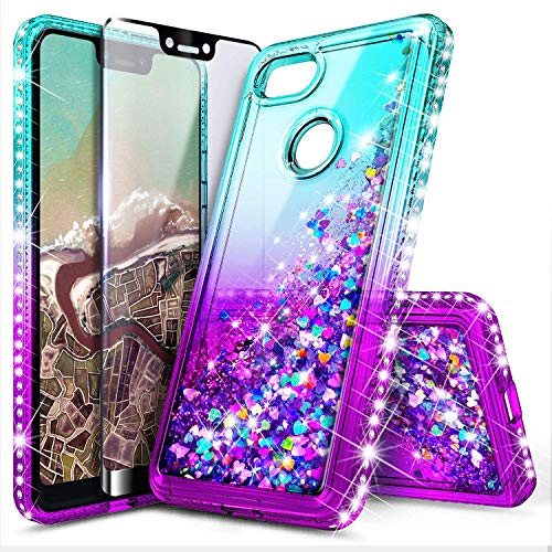 - Google Pixel 3a XL Case with Tempered Glass Screen Protector (Full Coverage) for Girls Women, NageBee Glitter Liquid Sparkle Floating Waterfall Durable Cute Case for Google Pixel 3a XL -Aqua/Purple