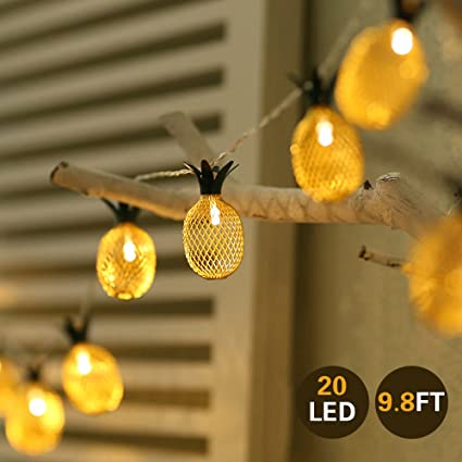 Amazon pineapple string lights outdoor hanging string lights pineapple string lights outdoor hanging string lights for hawaiian luau tropical theme party festival decorations aloadofball Images