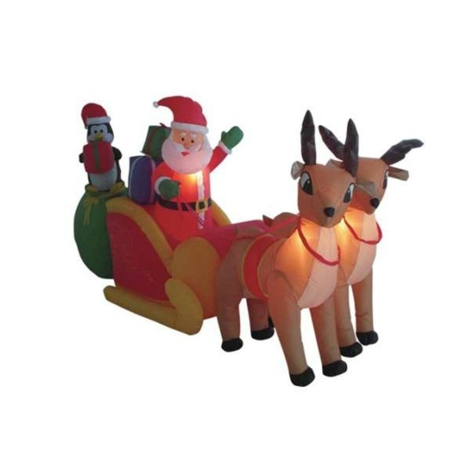 Amazon.com : 8.5u0027 Airblown Inflatable Santa On Sleigh W/Reindeer Lighted  Christmas Yard Decor : Yard Art : Garden U0026 Outdoor