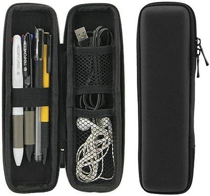 Estuche rígido de goma EVA para lápices y bolígrafos, color negro, color negro: Amazon.es: Oficina y papelería