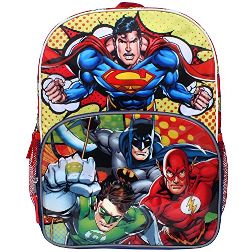 DC Comics Justice League Superman, Batman, Flash and The Green Lantern 16 inch Backpack with Side Mesh Pockets (Dc Backpacks For Boys)