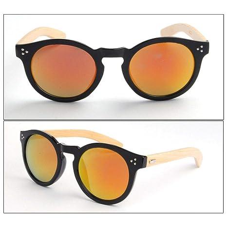 Gankmachine UV400 Gafas de Sol Redondas de bambú Mujer ...