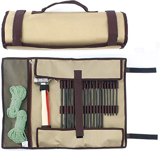 Tent Nail Storage Bag Tent Stakes Pegs Pouch Holder Tool Case Tote Carry