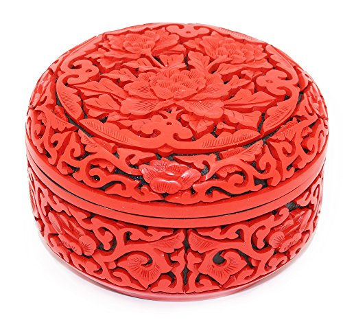 Ancient Craft Carved Lacquerware Handmade Red Round Flower Locket,Necklace Box,Jewelry Box for Women Gifts,Chinese Style Flower Engraved Bangle