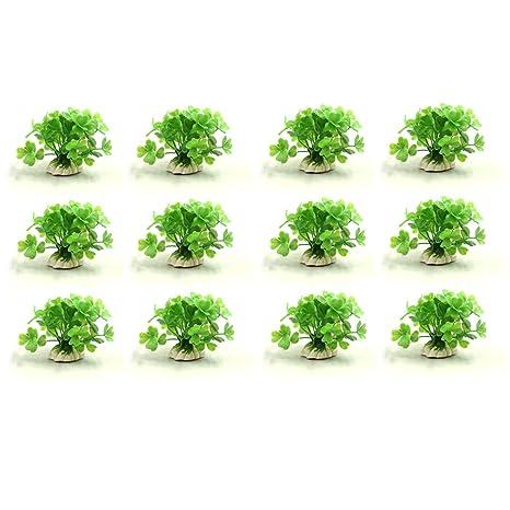 sourcing map 12Pcs Plástico Verde Hierba Mini Planta De Acuario Tanque De Paisaje Acuático Decoración W