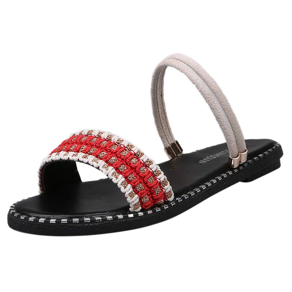 2019 Summer Women Ladies Bohemian Style Comfortable Loafer Causal Fashion Outdoor Beach Slipper Sandals US:5-7.5 (Red, 6.5)