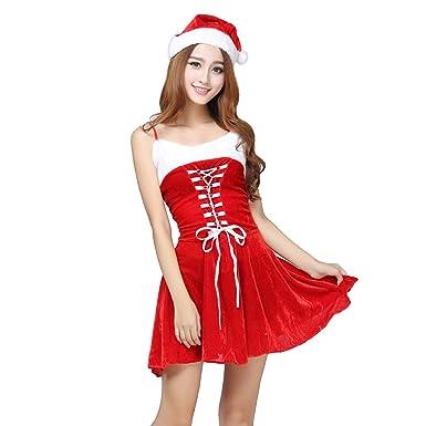 Amazon.com: Zkcfi Vestido de terciopelo rojo para Navidad ...