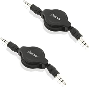 2 Pack Insten 3.5MM Jack CAR Audio AUX Auxiliary Stereo Retractable Cable Compatible with Samsung Galaxy S10/S10+/S10e/S9/S8/S7/Apple iPhone 7 6 6S Plus iPod iPad/PC Speaker and More (Up to 2.7 ft)