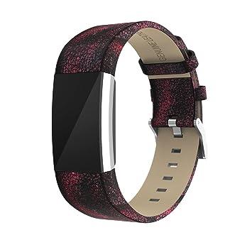 ☀️Modaworld Pulsera de Repuesto Correa de Banda de Repuesto Muñequera Pulsera de Cuero con Conectores de Metal para Fitbit Charge 2: Amazon.es: Deportes y ...