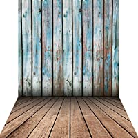 KonPon 5x10ft Silk Cloth Blue Wooden Floor Backdrop Photo Props Studio Background KP-046