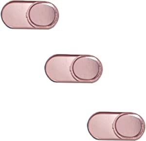 SUKRAGRAHA Protect Your Privacy Security Strong Adhensive Webcam Cover 0.7MM Thin Compatible with Laptop Desktop PC Macboook iMac Smartphone (3 Pack Round Metal, Rose Gold)