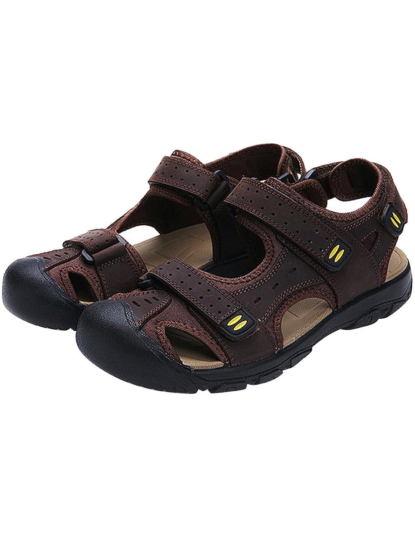 Menschwear Herren Leder Sport Sandalen Outdoor Wasserschuhe SchuheMenschwear Sandalen Outdoor Wasserschuhe Dunkel Braun
