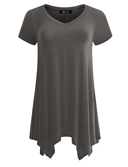 ca75672e0b4 BILY Women's Short Sleeve V-Neck Swing Loose Fit Comfy Flattering Tunic Tops  Charcoal Small. Roll over image to zoom in