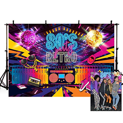 (MEHOFOTO Retro Back to 80s Themed Adult Birthday Party Decorations Banner Photo Studio Booth Background Hip Hop Disco Backdrops for Photography)