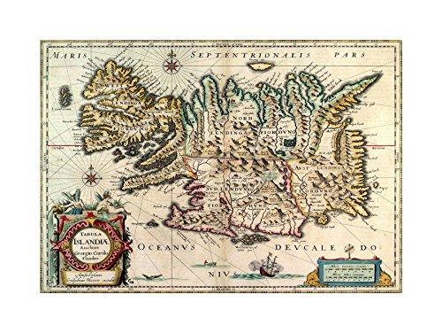 MAP ANTIQUE 1630 BLAEU ICELAND FRAMED PRINT (Blaeu Antique Map)