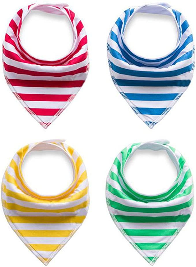 Baby Drool Bibs Bandana Teething Organic Cotton Adjustable Snap Triangle Bib Set Baby Boys Girls Shower Gift Striped/&Solid Color 8pcs