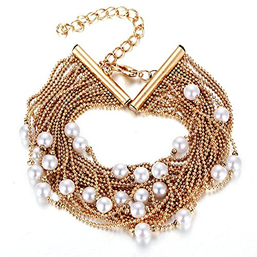 Spring Deer Fashion Gold Beaded Faux Pearl Multi-layer Multi-Strand Charm Wristband Bangle Bracelet Adjustable Length for ()