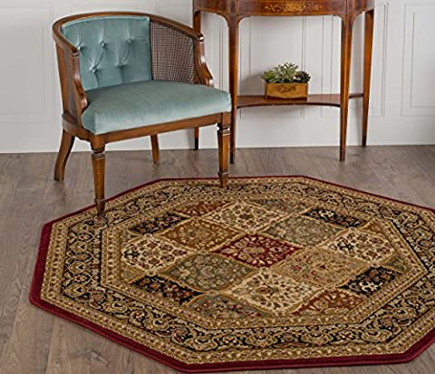 Universal Rugs Princeton Traditional Oriental Red Octagon Area Rug, 6' Octagon (Octagon Shape Rugs)