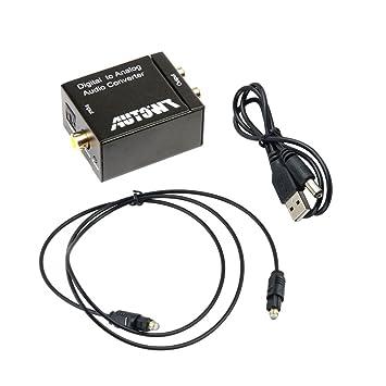 AutoWT señal digital coaxial óptico Toslink a analógico convertidor de audio adaptador RCA L/R
