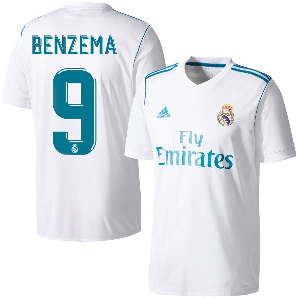 Real Madrid Home Trikot 2017 2018 + Benzema 9 - L