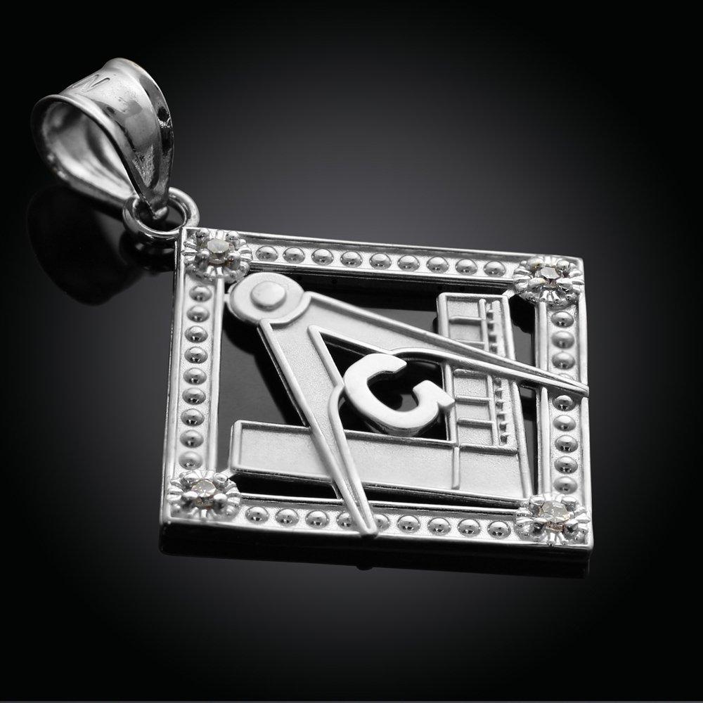 925 Sterling Silver Freemason Compass and Square CZ Charm Masonic Pendant Necklace