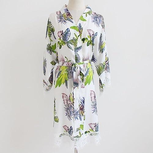 Amazon.com  White Floral Women Kimono Robe(with lace trims)-Bridesmaid  Kimono Robe-bridesmaid Gift-Wedding Party Robes Bridal Party Gift  Handmade bd0474576
