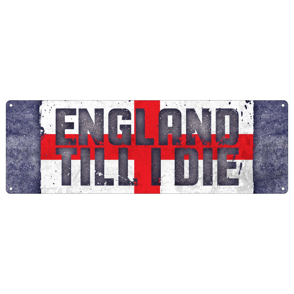 Real Slick Tees England Till I Die Football Slim Tin Sign