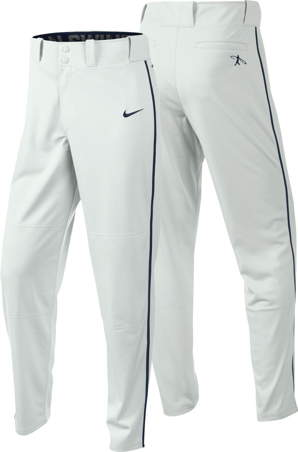 Nike Boys Swingman Dri-FIT Piped Baseball Pants (White/Navy, Small) by Nike (Image #1)