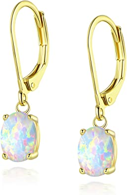 Rose Gold Lab Made Opal Earrings6mm Lab Made White Opal