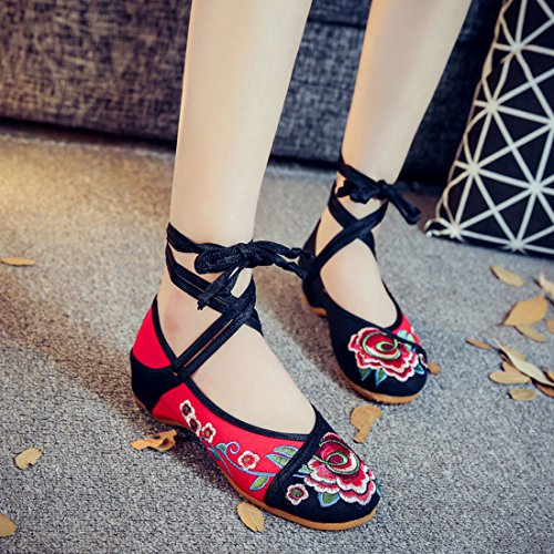 YIBLBOX Women's Traditional Lace Up Strap Flats Shoes Rubber Sole Strappy Small Flower Embroidery Dress Shoes Casual Walking Shoes Red xSYA5