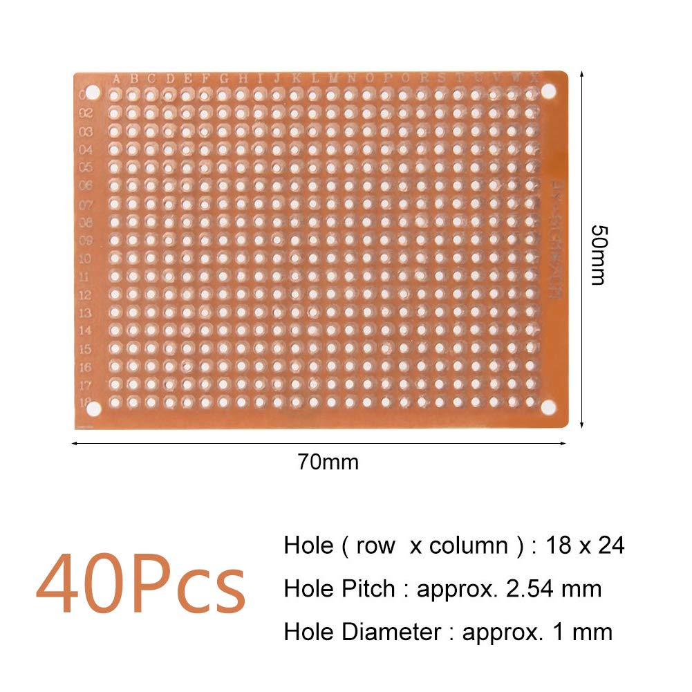 40Pcs Single Sided Bakelite Circuit Board Prototype Kit Universal Printed Circuit Board 5cm x 7cm with 2.54mm Standard Hole Pitch for DIY Soldering and Electronic Project