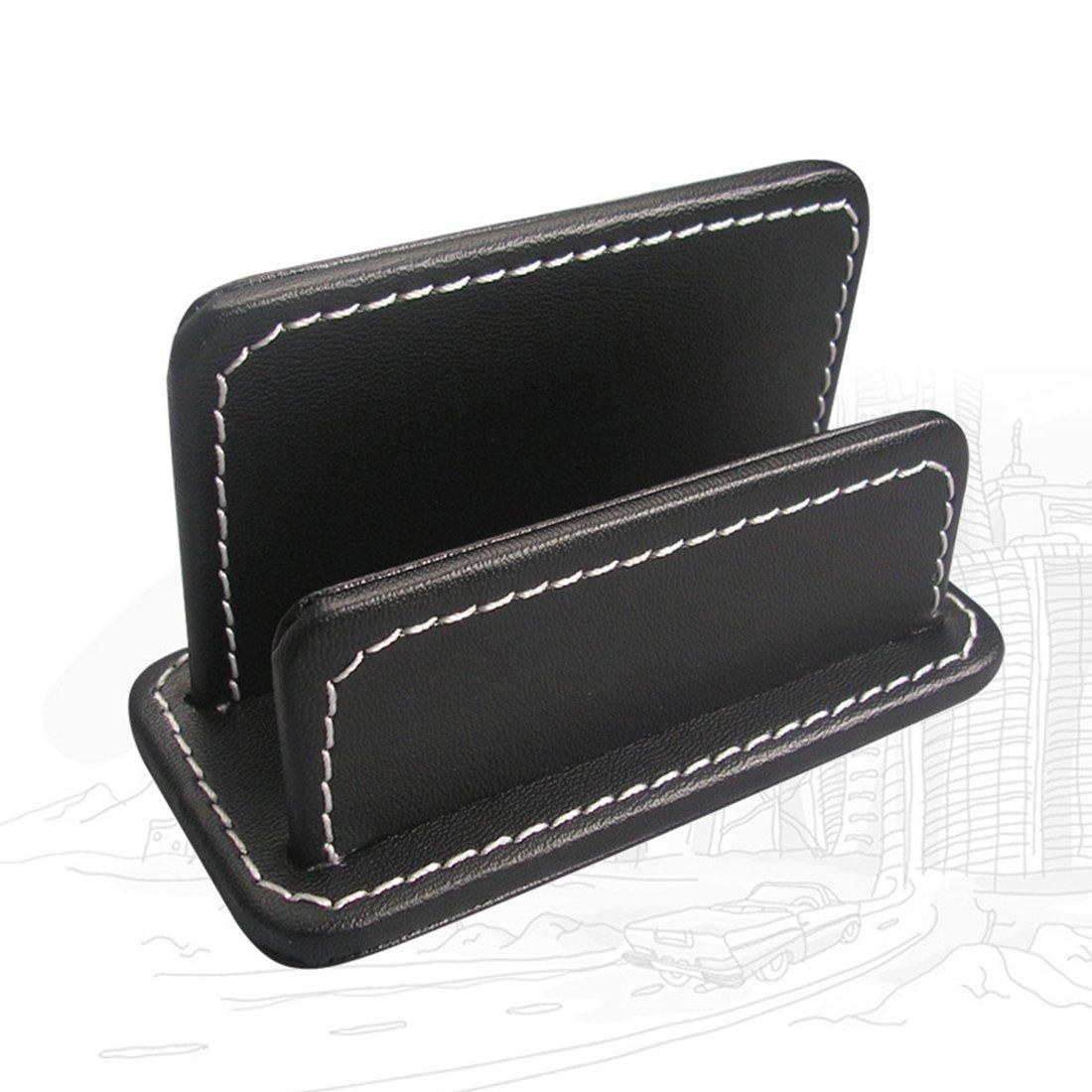 Name Cards Holder, Zubita Creative Design PU Leather Business Name Card Holder Stand Notes Container Desktop Organizer ( Black )