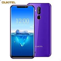 """OUKITEL C12 Pro – 4G Smartphone Libre DE 6.18"""" HD 19:9 IPS con Antihuellas Quad-Core 2 + 16GB SIM Doble Telefonos Moviles Android 8.1 Cámara 8MP+5MP Face ID Versión Europea - Morado"""