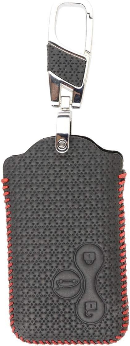 Funda de Piel para Llavero Clio Megane Grand Scenic de 3 Botones Luxury Black MAXIOU