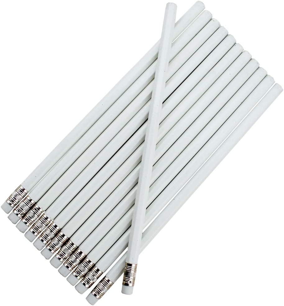 EZPENCILS & GIFTS Blank Pencils Bulk – Hexagon Pencils – White Barrel and Eraser – Package of 20 - Non-Personalized - 2HB Black Lead - School - Office - Blanks - Non-smear eraser