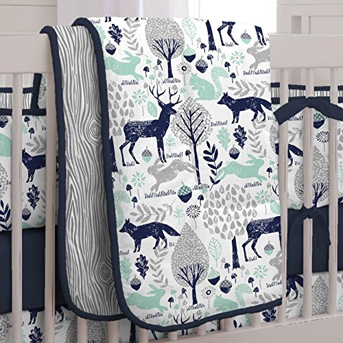 Carousel Designs Navy and Mint Woodlands Crib Comforter ()