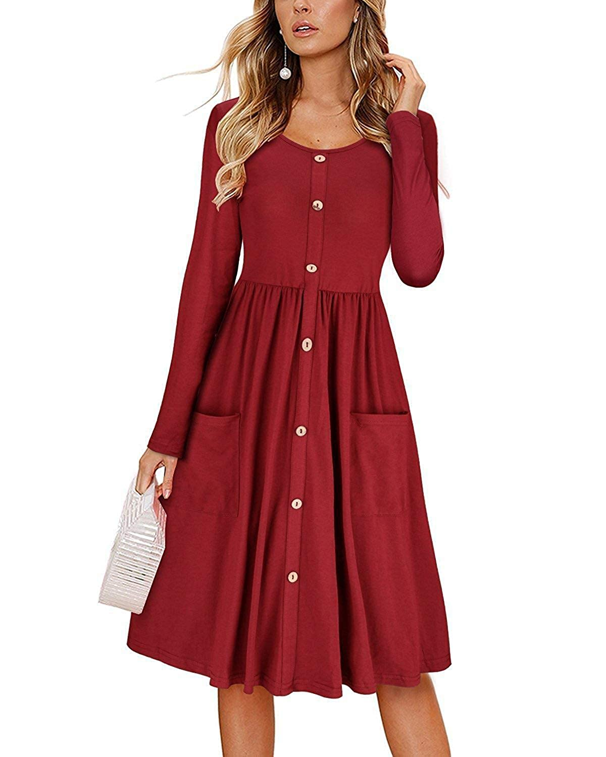 INIBUD Long Sleeve Skater Dresses for Women Button Down with Pockets