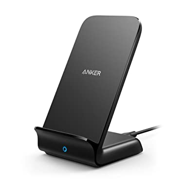 Anker Wireless Charger, PowerWave 7.5 Stand, Qi-Certified, Fast Charging iPhone 11, 11 Pro, 11 Pro Max, XR, Xs Max, Xs, X, 8, 8 Plus, Samsung Galaxy S10 S9 S8, Note 10 Note 9 (No AC Adapter) - Black