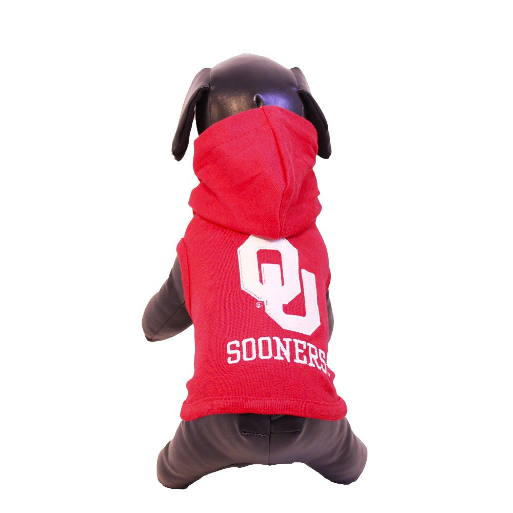 All Star Dogs NCAA Oklahoma Sooners Collegiate Cotton Lycra Hooded Dog Shirt (Team Color, XX-Small)