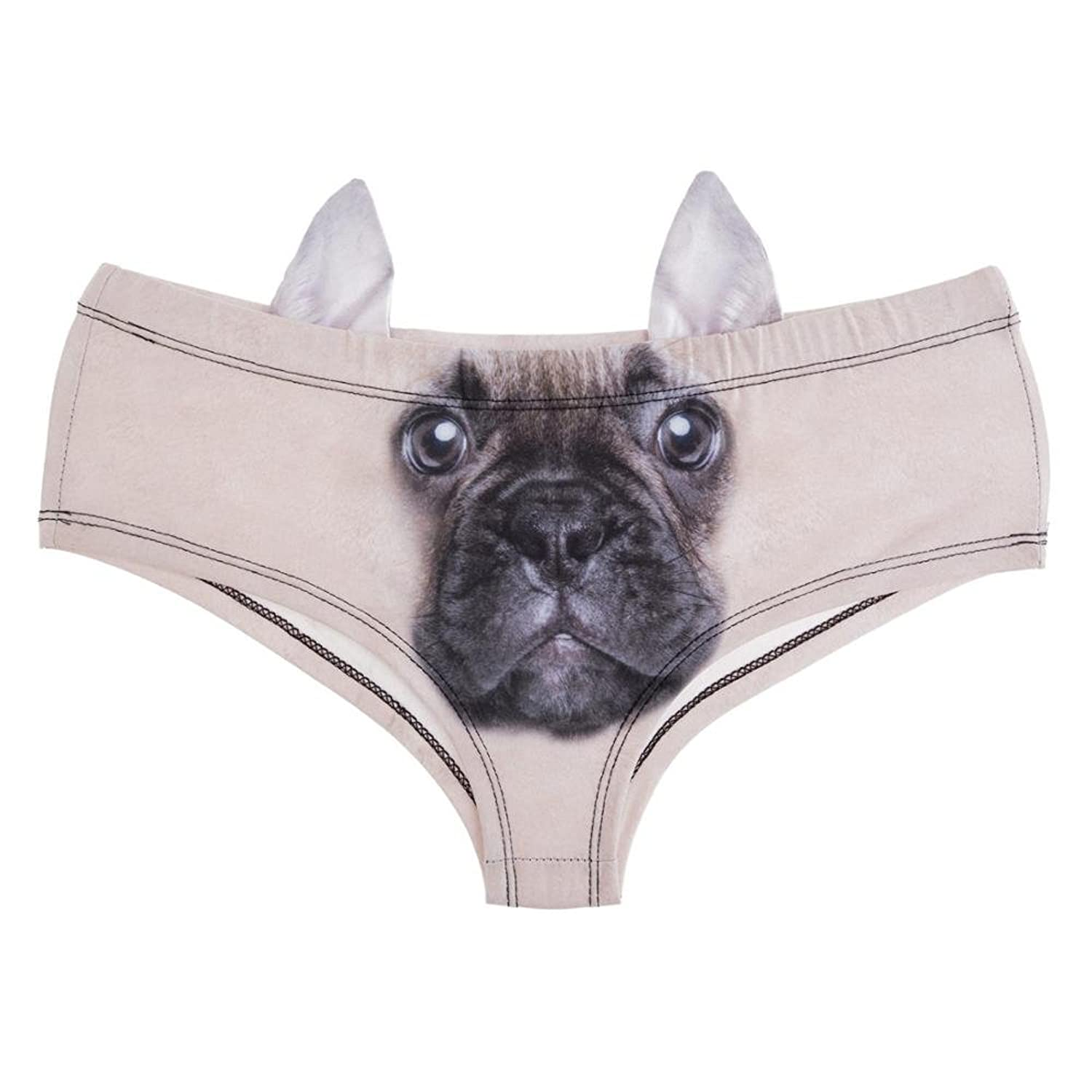 Amazon.com: Animal Women Ear Underwear French Bulldog 3D Printing Sexy Panties Woman Lingerie Underwear: Clothing