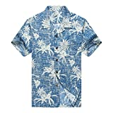 Men's Hawaiian Shirt Aloha Shirt XL Vintage Blue Pineapple Floral