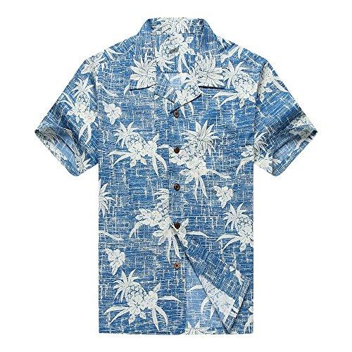Men's Hawaiian Shirt Aloha Shirt XL Vintage Blue Pineapple Floral ()