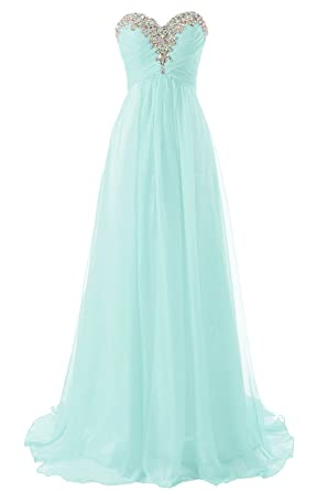 JAEDEN Prom Dress Long Bridesmaid Dresses Strapless Chiffon Formal Evening Gown Sweetheart Aqua US2