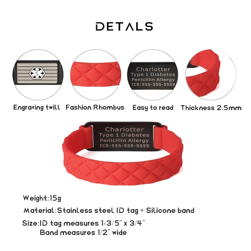 Silicone Sport Medical Alert ID Bracelet Red for Children (Free Engraving)