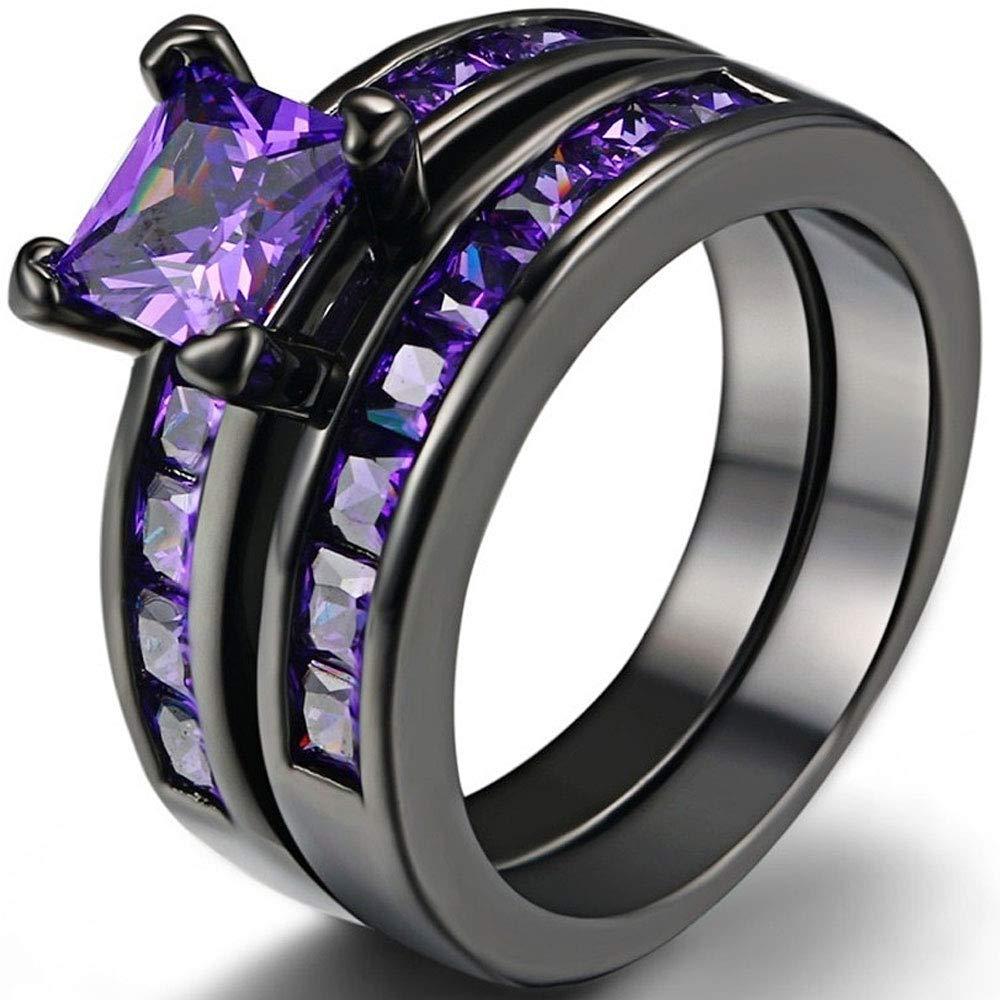 AONEW Engagement Wedding Vintage Ring Set Black Gold 2pcs Square Purple Cz Size 6-10 Size 6